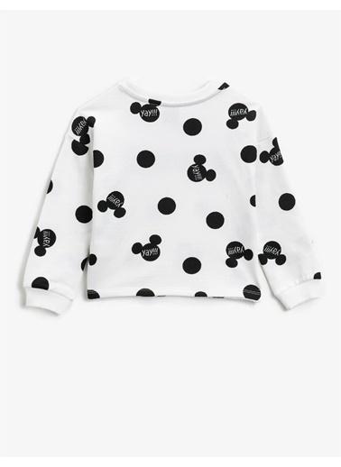 Koton Minnie Mouse Lisansli Baskili Pullu Bisiklet Yaka Pamuklu Sweatshirt Siyah